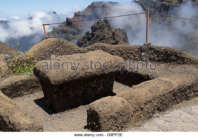 Stone Table And Benches In The Volcanic Mountain Landscape Below Pico Do  Arieiro On The Island