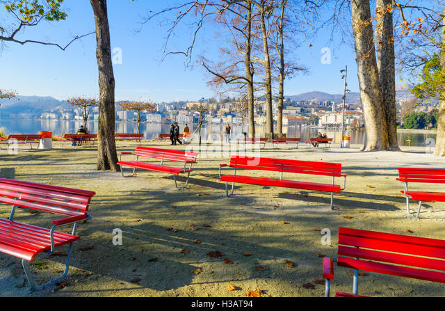 LUGANO, SWITZERLAND   DECEMBER 29, 2015: View Of The Parco Civico Garden And