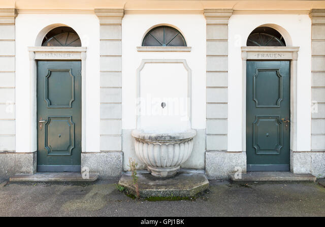 Old style public toilet for men and women with green painted doors and writing in German & Public Toilet Door Stock Photos \u0026 Public Toilet Door Stock Images ... Pezcame.Com