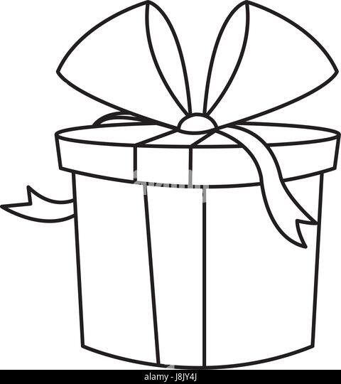 Christmas Gift Box Wrapped Bow Outline