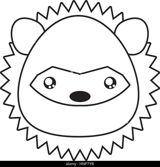 porcupine drawing face stock image