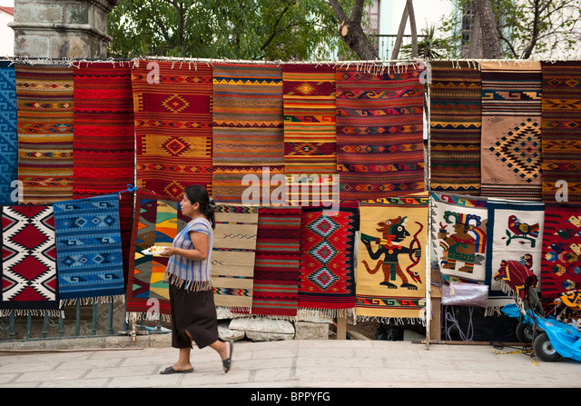 Rugs For Sale At The Market, Oaxaca, Mexico   Stock Image