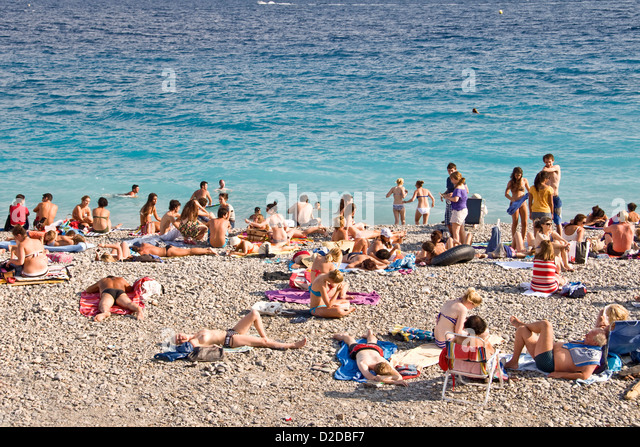 Crowed Public Beach In Summer Nice France Stock Image