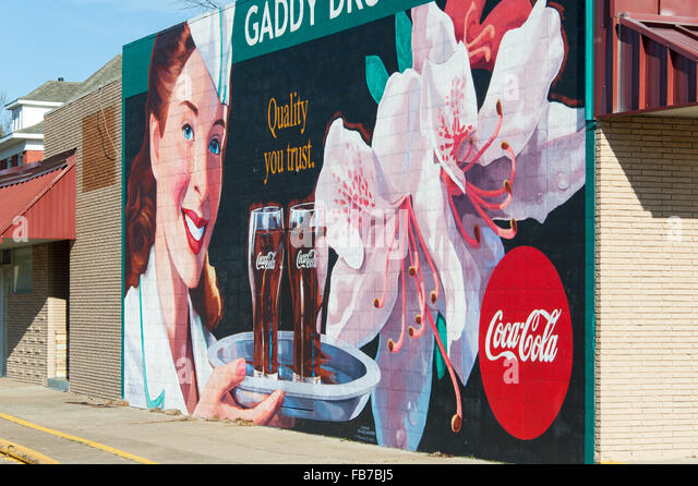 Coca cola advertisement 1950s stock photos coca cola for Coca cola wall mural