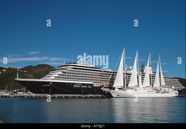 Cruise ships size contrast comparison large small tall sailing vessel