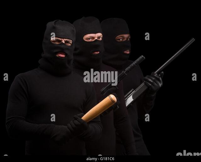 Bandit In Leather Jacket Gun Stock Photos & Bandit In