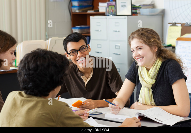 High school students studying together