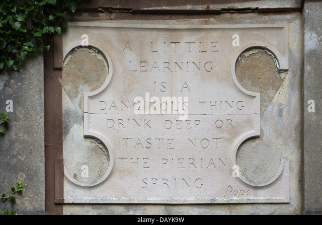 a little learning is a dangerous thing stock photos a little  west green house garden nymphaeum plaque carrying pope s a little learning is a dang