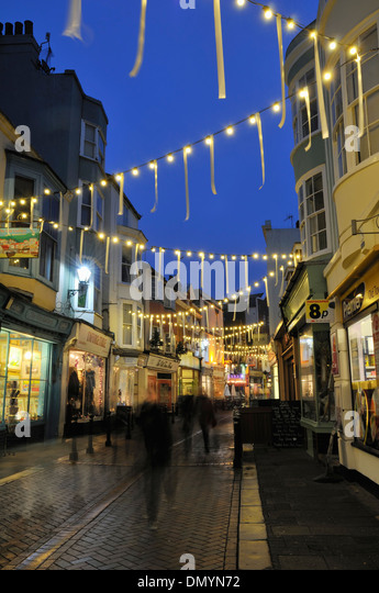 George Street Hastings Old Town East Sussex illuminated at Christmas time - Stock & Hastings Old Town Shops Stock Photos u0026 Hastings Old Town Shops ... azcodes.com