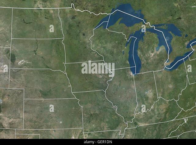 Midwest Usa Indiana Michigan Ohio Stock Photos Midwest Usa - Map of midwest usa
