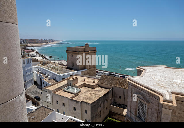 View from the Roof, Cadiz Cathedral (Catedral de Santa Cruz de Cádiz), Plaza Catedral, Cadiz, Spain - Stock Image