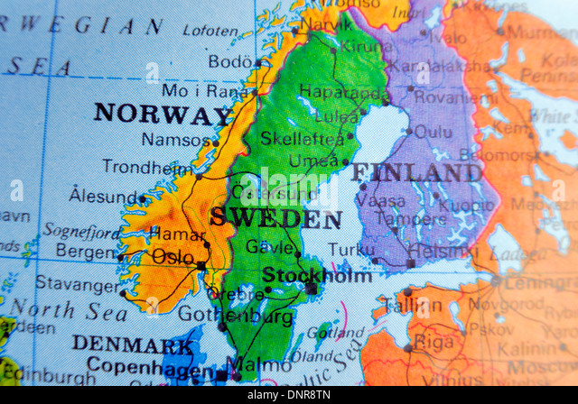 Map Norway Finland Sweden Denmark Stock Photos Map Norway - Sweden map images