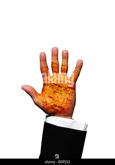 United States Of America Map On Business Man Hand Palm Stock Image