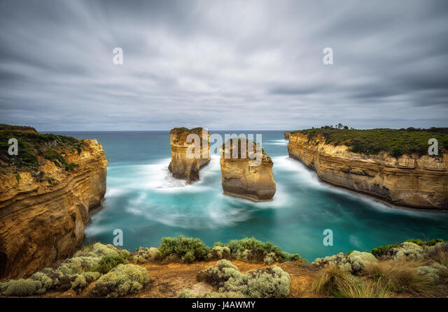 Loch Ard Gorge along the famous Great Ocean Road in Victoria, Australia, near Port Campbell and The Twelve Apostles. - Stock Image