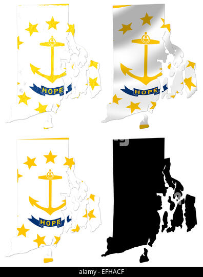 Us Rhode Island State Flag Over Map Collage Stock Image