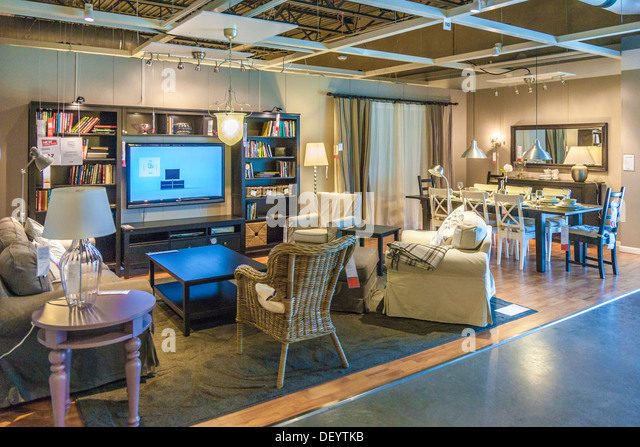 Living Room And Dining Setup Display In An IKEA Store The USA