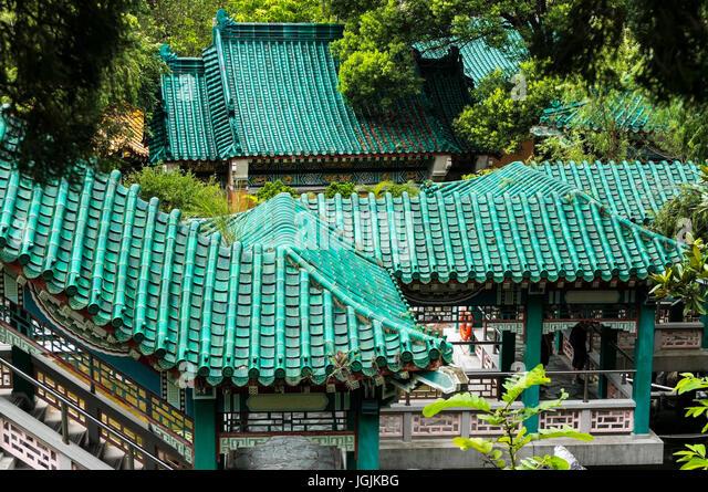 Green China terracotta roof rooves tiled taken at Good Wish Garden at Wong Tai Sin & Terracotta Rooves Stock Photos u0026 Terracotta Rooves Stock Images ... memphite.com