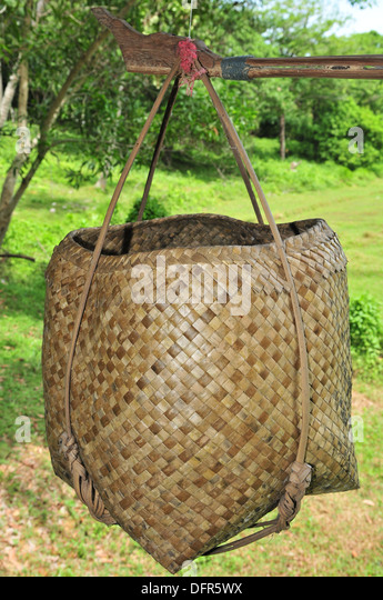 How To Weave Palm Fronds Into A Basket : Palm leaf basket stock photos