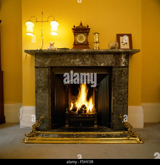 Black Marble Fireplace Stock Photos Black Marble Fireplace Stock