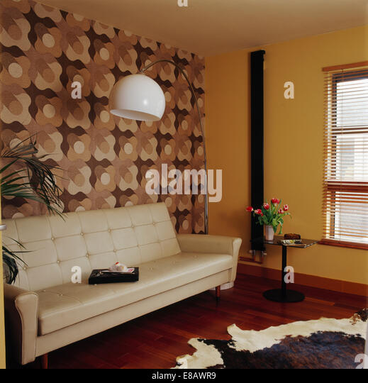 Cream leather stock photos cream leather stock images for Brown and cream living room wallpaper