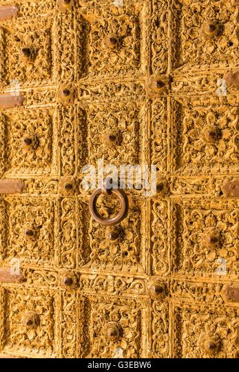 Golden door close up. Detail of Patwa Haveli in Jaisalmer Rajasthan India -