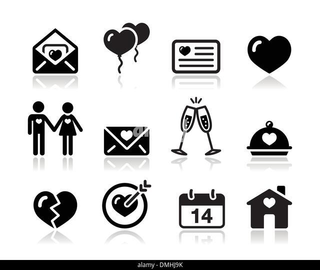 Love Valentine black icon set - Stock Image