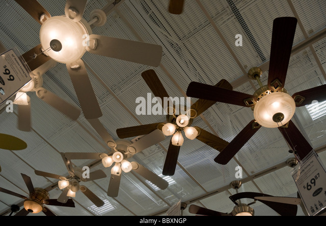 Ceiling fans stock photos ceiling fans stock images alamy ceiling fans and lights hanging from ceiling of lowes home improvement store florida stock aloadofball Image collections