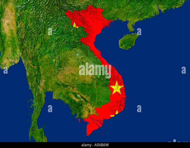 Map satellite geography vietnam stock photos map satellite satellite image of vietnam covered by that countrys flag stock image gumiabroncs Choice Image