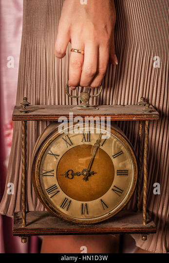 Vintage Clock In Married Womanu0027s Hand   Stock Image