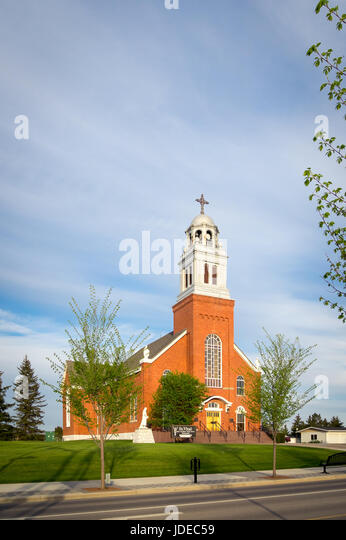 A view of Saint Vital Parish, a Catholic Church in the town of Beaumont, Alberta, Canada. - Stock Image