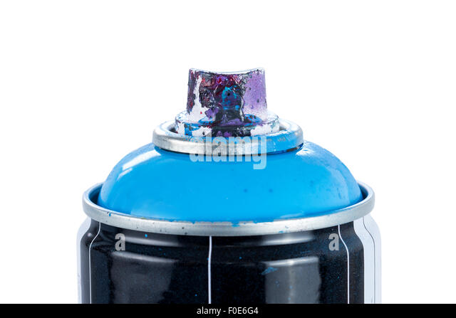 closeup of a blue spray paint can with used and painty nozzle isolated