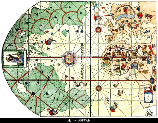 Christopher Columbus Map Stock Photos Christopher Columbus Map - Us wildlife map of the 1400s