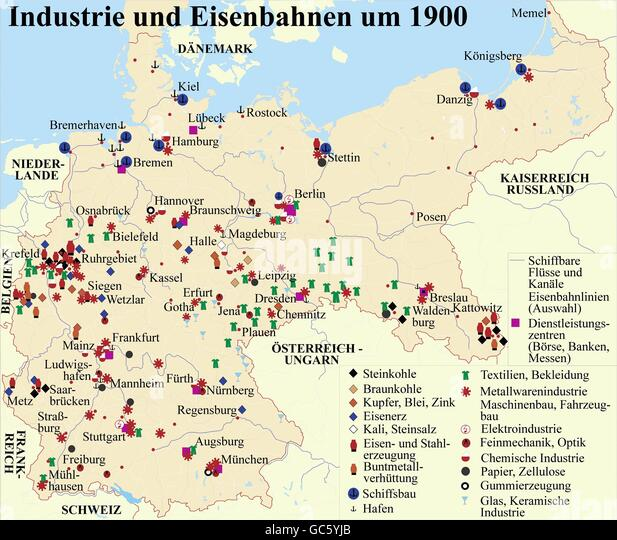 Historical Map Of Germany And Europe Stock Photos Historical Map - Germany map 1900