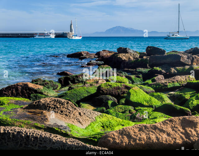 View africa over strait gibraltar stock photos view - Moroccan port on the strait of gibraltar ...