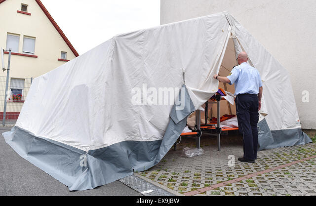 Heidelberg Germany. 09th July 2015. A police officer stands in front of & Residential Tent Stock Photos u0026 Residential Tent Stock Images - Alamy