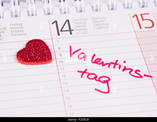Kalendereintrag Valentinstag   Stock Image