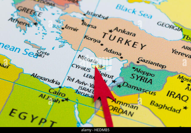 Cyprus country map stock photos cyprus country map stock images red arrow pointing cyprus on the map of europe continent stock image gumiabroncs Image collections