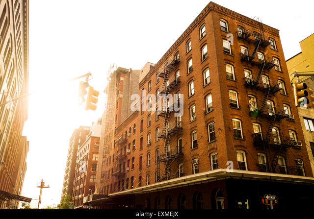 Apartment Building Fire Escape Ladder building fire escape ladders new york city ny stock photos