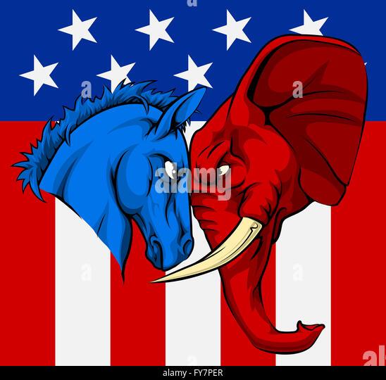 Republican And Democratic Symbols Combined