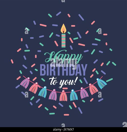 happy birthday kawaii background - Stock Image