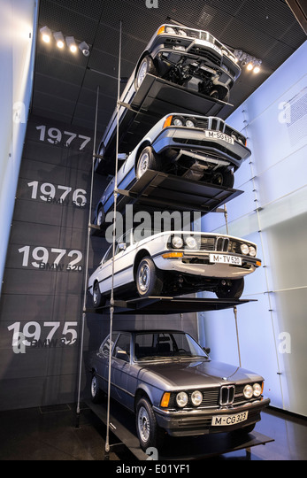 Display Of BMW Cars At BMW Museum In Munich Germany   Stock Image