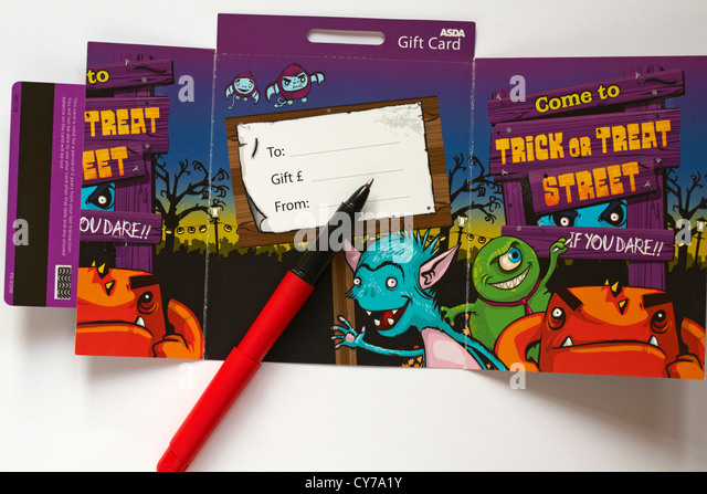 getting ready to write an asda halloween gift card set on white background stock image