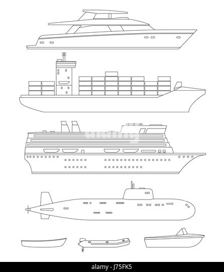 Ships and boats line drawings - Stock Image
