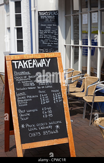Chalkboard Menus Outside Cafe Abergavenny Wales UK