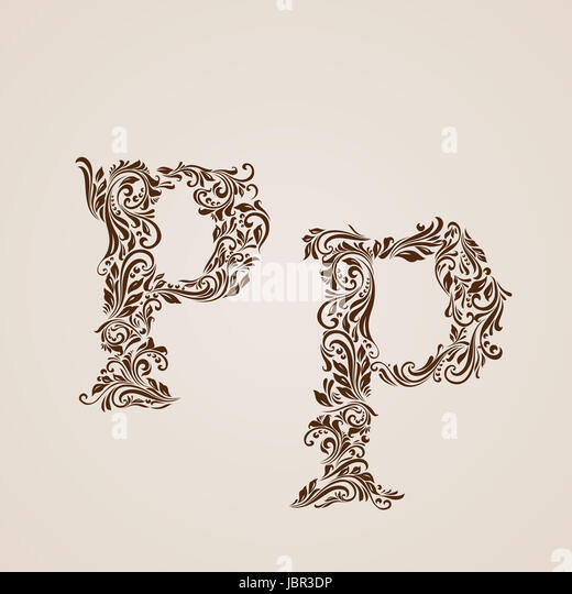Handsomely Decorated Letter P In Upper And Lower Case