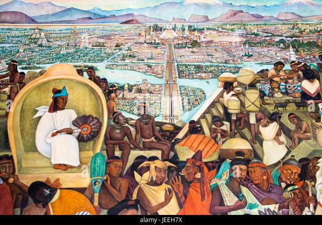 Diego rivera mural stock photos diego rivera mural stock for Diego rivera aztec mural