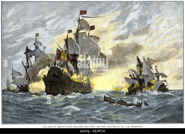 English ship 1600s stock photos english ship 1600s stock images destruction of john smith ship by the spanish ending his new england venture stock image publicscrutiny Choice Image