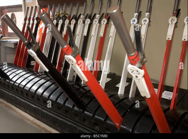 Lever Train Track : Signal box levers stock photos