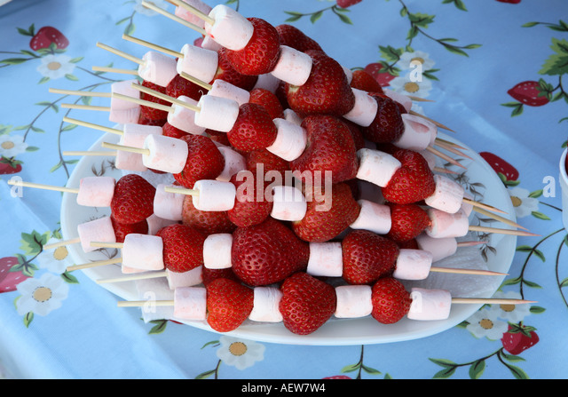 Strawberry Marshmallow Skewer Stock Photos Amp Strawberry