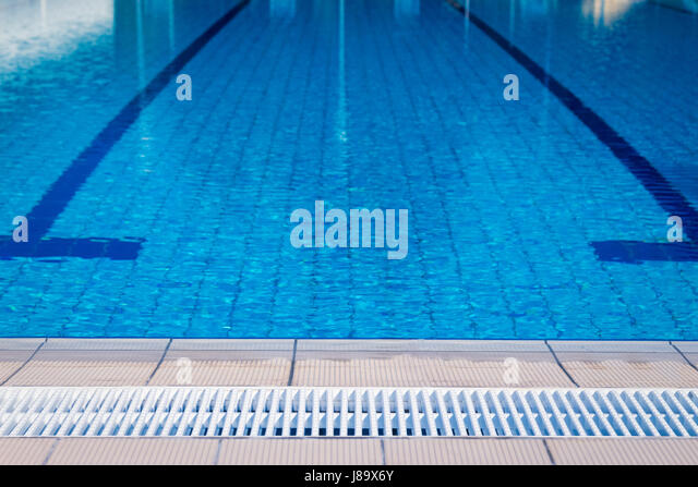 open air olympic swimming pool and competition lines stock image